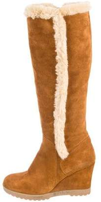 Aquatalia Faux Fur-Trimmed Wedge Boots