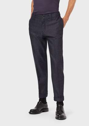 Giorgio Armani Trousers In Japanese Fabric With A Turned-Up Cuff