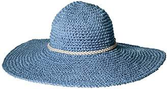 D&Y Women's Paper Crochet Floppy Hat with Metallic Braid Band