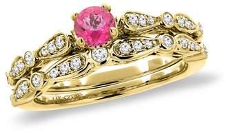 Sabrina Silver 14K Yellow Gold Diamond Natural Topaz 2pc Engagement Ring Set Round 4 mm, size 8