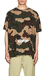 Off-White Men's Logo Camouflage Cotton Oversized T-Shirt - Beige, Tan
