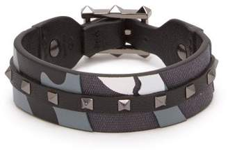 Valentino - Rockstud Camouflage Leather And Canvas Bracelet - Mens - Grey