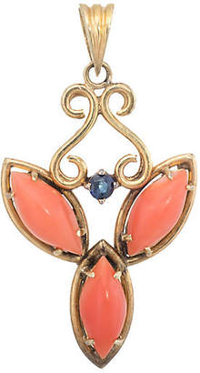 One Kings Lane Vintage Coral & Sapphire Pendant - Precious & Rare Pieces