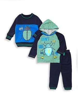 Nannette Little Boy's Three-Piece Bug Graphic Top, Hoodie & Pants Set
