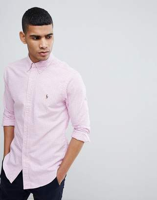 Polo Ralph Lauren Gingham Slim Fit Oxford Shirt Polo Player In Pink