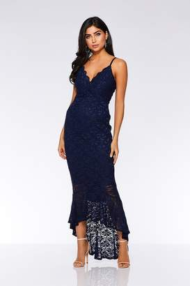 d7b2971854 Quiz Navy Glitter Lace Dip Hem Maxi Dress