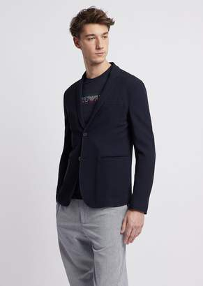Emporio Armani Single-Breasted Blazer In Textured Wool/Viscose