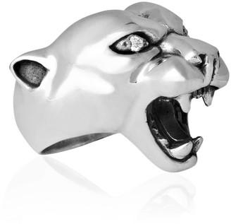 Strange Fruit Panther Ring Silver With Diamond