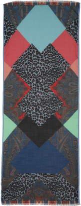 Etro Paisley & Leopard Print Wool & Silk Scarf