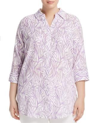 Foxcroft Plus Faith Floral-Print Tunic Top