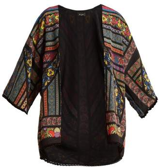 Etro Multi Print Silk Jacket - Womens - Black
