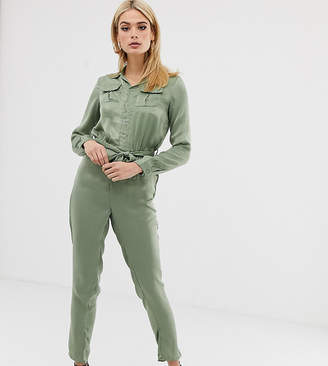 d3f975c94fa Missguided Tall utility satin belted jumpsuit in green
