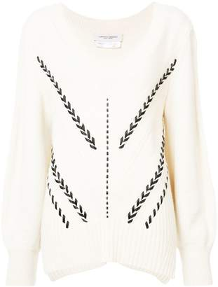 Carolina Herrera V-neck ribbon detail sweater