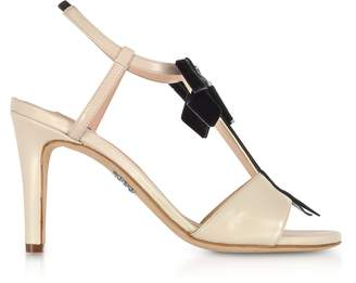 Rodo Ivory Leather Zip Sandals w/Velvet Bow