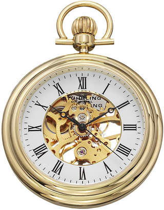 Stuhrling Original Sthrling Original Mens Gold-Tone Stainless Steel Skeleton Automatic Pocket Watch