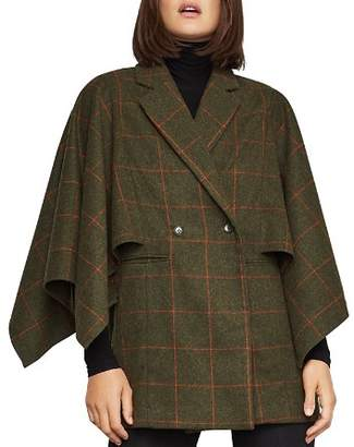 BCBGMAXAZRIA Windowpane-Plaid Cape-Sleeve Jacket