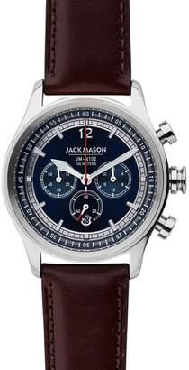 Jack Mason Nautical Chronograph Leather Watch, 42mm