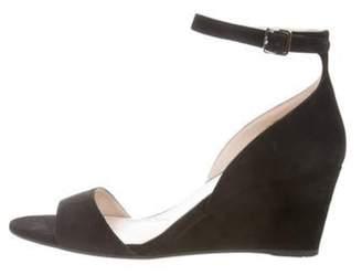Prada Suede Ankle-Strap Wedges Black Suede Ankle-Strap Wedges