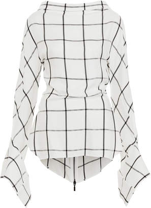Maticevski Courageous Checked Bell Sleeve Blouse