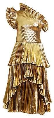 Altuzarra Women's Kamala Pleated Lamé Midi Dress