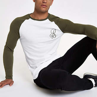 River Island Mens Khaki raglan embroidered muscle T-shirt