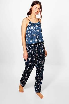 boohoo Skye Satin Dandelion Print Vest And Trouser PJ Set