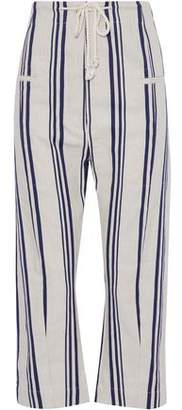 Joseph Ombria Cropped Striped Cotton And Linen-Blend Wide-Leg Pants