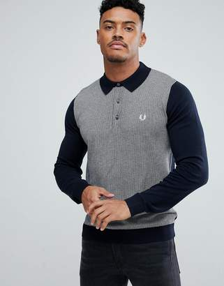 Fred Perry Jacquard Knitted Polo Shirt In Navy