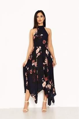 7623f48be30c AX Paris Womens Cut Neck Asymmetric Dress - Blue
