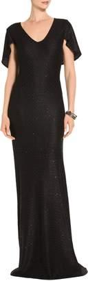 St. John Shimmer Sequin Knit V-Neck Gown