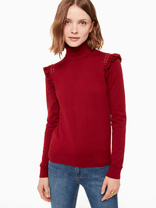 Kate Spade Ruffle Turtleneck Sweater, Deep Russet - Size L