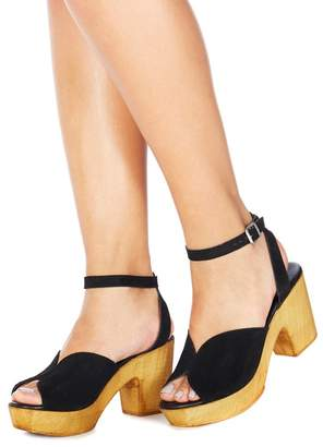 Faith Black Suede 'Demo' High Platform Heel Ankle Strap Sandals