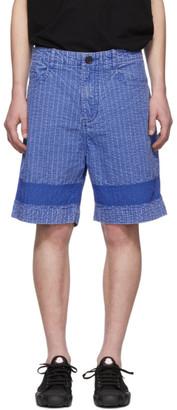Craig Green Blue Acid Wash Line Stitch Shorts