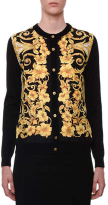 Versace Hibiscus-Print Silk-Front Button-Down Cardigan