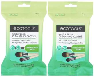 EcoTools Makeup Brush Cleansing Cloths, 2 packsof 25