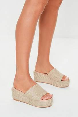 Missguided Camel Jute Flatform Sandals