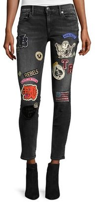 True Religion Halle Patch Mid-Rise Skinny Jeans, Black Rebel $359 thestylecure.com