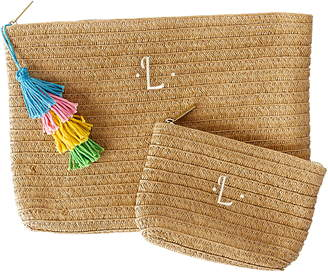 Cathy's Concepts Set of 2 Monogram Straw Pouches