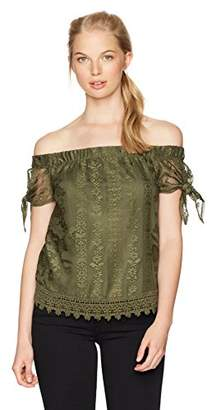 Amy Byer A. Byer Women's Off The Shoulder Tie Sleeve Lace Top