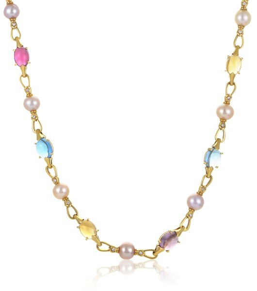 Bvlgari Bulgari 18K Yellow Gold Diamond Pearl and Gemstone Choker Necklace