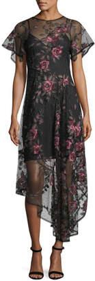 Nanette Lepore Flamenco Floral Silk Illusion Frock