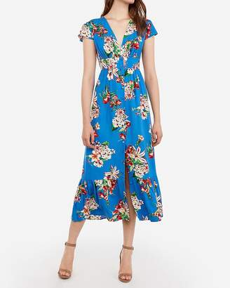 3e7310a2 Express Floral Button Front V-Neck Maxi Dress