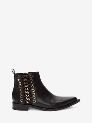 Alexander McQueen Braided Chain Ankle Boot