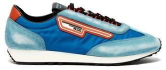 Prada Milano Suede And Nylon Low Top Trainers - Mens - Light Blue
