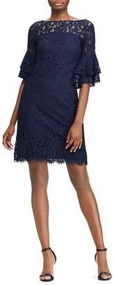 Lauren Ralph Lauren Petites Bell-Sleeve Lace Dress