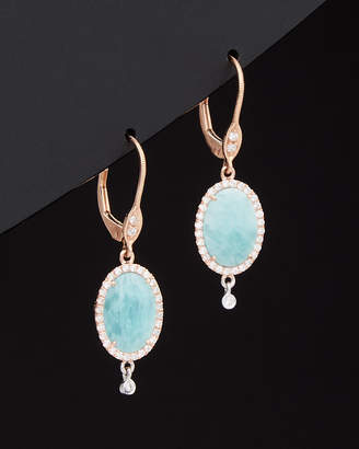 Meira T 14K 0.74 Ct. Tw. Diamond & Blue Amazonite Earrings