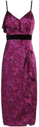 Cinq à Sept Ruffle-Trimmed Floral-Print Silk-Satin Midi Dress