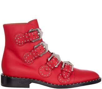 Givenchy Elegant Line Studded Ankle Boots In Red