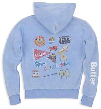 Butter Shoes Girls' Fleece Mineral Wash Embellished Camp Hoodie - Little Kid