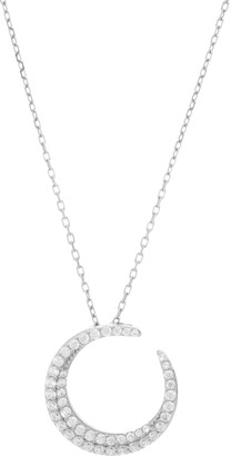 """Diamonique Hope Circle for Pendant with 18"""" Chain, Sterling Silver"""